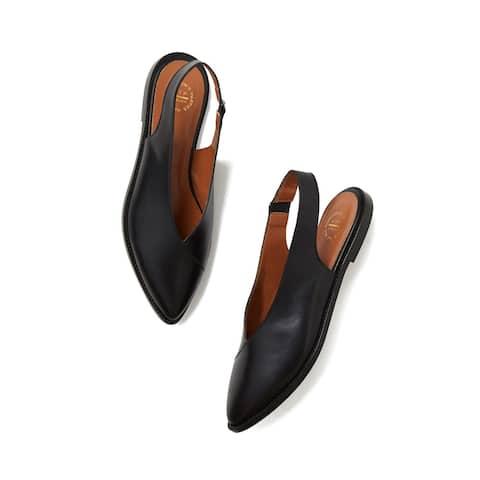 ATP Atelier Women's Bee Slingback Flats Shoes Black Size 35