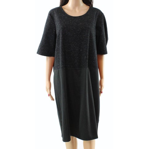 Junarose Black Women's Size 2X Plus Short Sleeve Sheath Dress