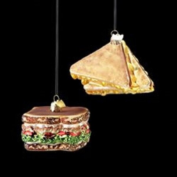 """3"""" Noble Gems Golden Brown Glass Grilled Cheese Sandwich Christmas Ornament - GOLD"""