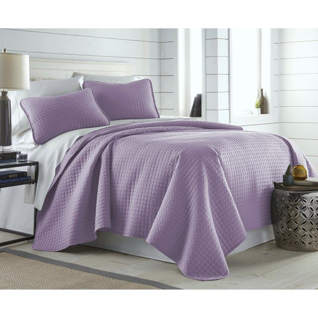 Oversized Solid 3-piece Quilt Set by Southshore Fine Linens - Lavender - King - Cal King