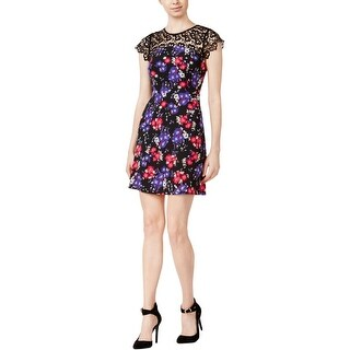 Kensie Womens Casual Dress Lace Contrast Floral Print