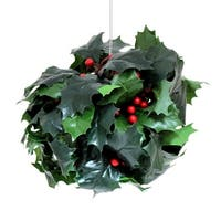 """Pack of 4 Decorative Artificial Deep Green Holly with Red Berries Spheres 8"""""""