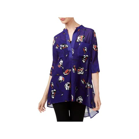 0d78b85cdcca4 Anne Klein Womens Blouse High-Low Elbow Sleeves