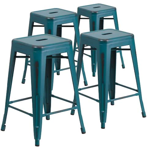 """4 Pack 24"""" High Backless Distressed Metal Indoor-Outdoor Counter Height Stool"""