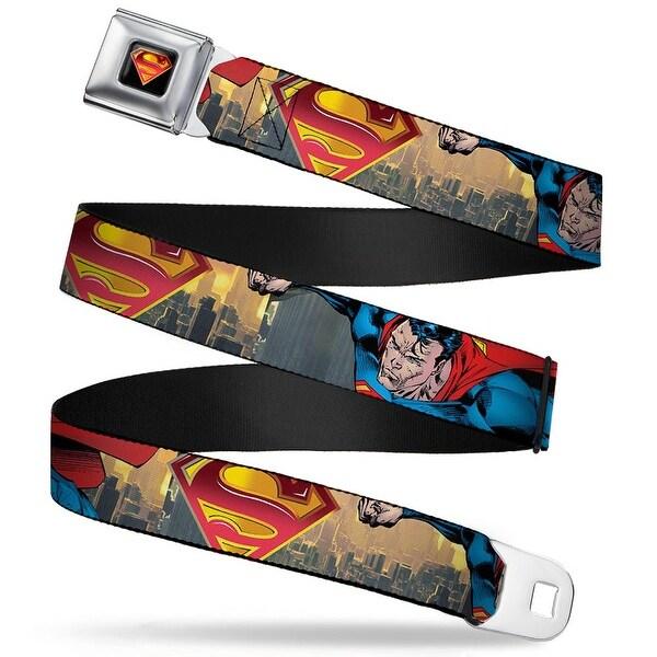Superman Shield Full Color Black Golds Reds White Superman World Hero Seatbelt Belt