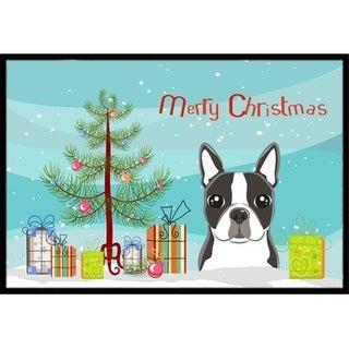 Carolines Treasures BB1575MAT Christmas Tree & Boston Terrier Indoor or Outdoor Mat 18 x 27