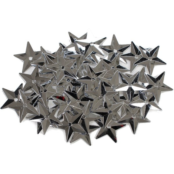 Star Sequins 18mm 50/Pkg-Silver - Silver