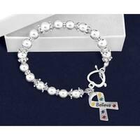 Believe Puzzle Piece Ribbon Beaded Bracelet for Heart Disease Awareness - Silver