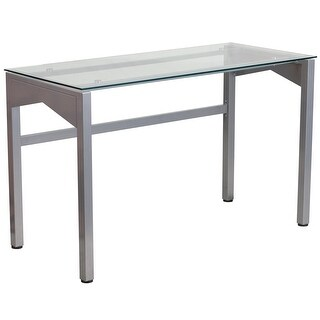 Forsan Home/Office Computer Desk w/Clear Tempered Glass Top Silver Frame