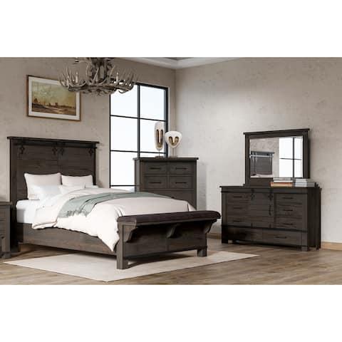 The Gray Barn Chanelle 3-Piece Modern Farmhouse Bedroom Queen Bed / Dresser / Mirror Set