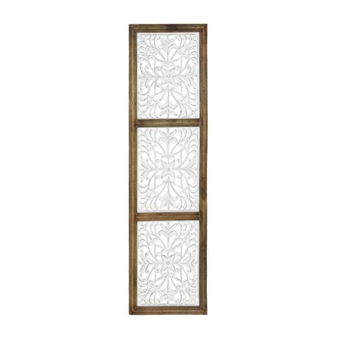 "Brewster FMEX9215A Habitat Amy 52"" x 13-3/4"" Floral Framed Wood Me - White / Off White"