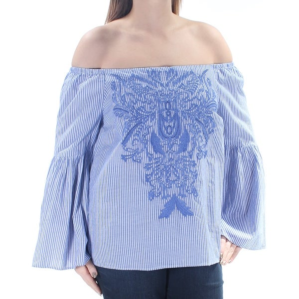 f7a16e86c743bd Shop INC Womens Blue Embroidered Striped Bell Sleeve Off Shoulder Top Size   XXL - On Sale - Free Shipping On Orders Over  45 - Overstock - 21408300