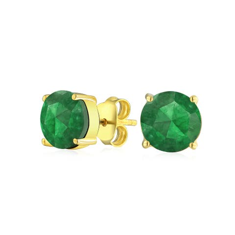 Simple 2.2CT Created Gemstone Solitaire Stud Earrings For Women