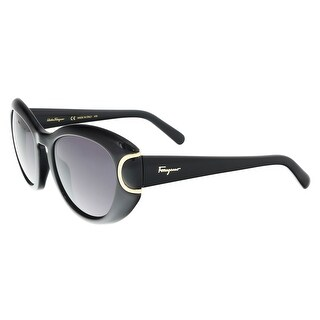 Salvatore Ferragamo SF818/S 001 Black Oval Sunglasses - 54-21-140