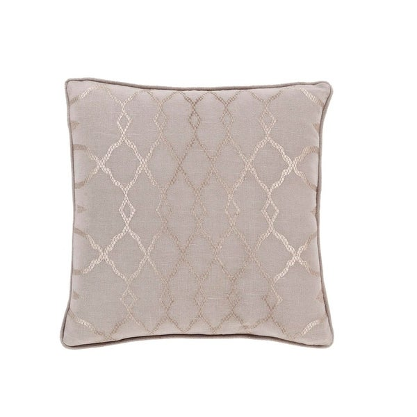 "18"" Diamond Elegance Tan Brown and Mist Gray Decorative Throw Pillow – Down Filler"