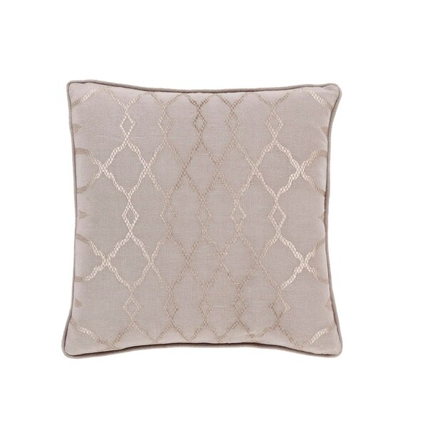 "18"" Diamond Elegance Tan Brown and Mist Gray Decorative Throw Pillow"