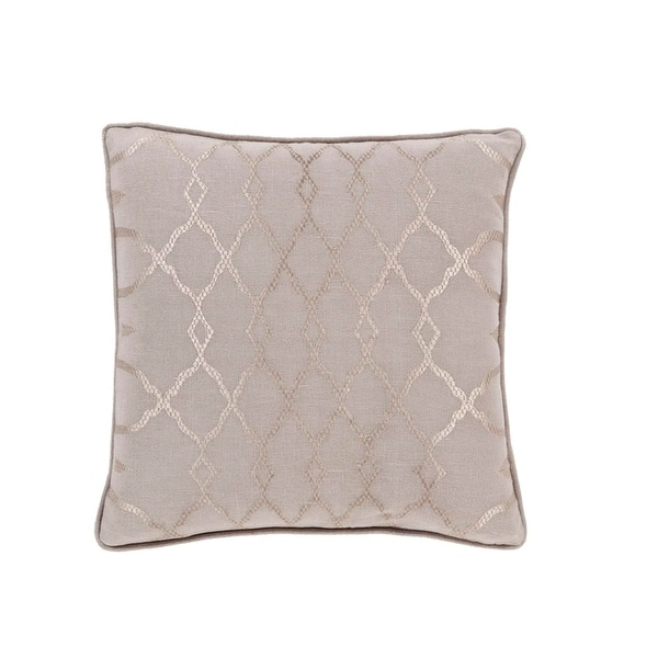 "22"" Diamond Elegance Tan Brown and Mist Gray Decorative Throw Pillow"
