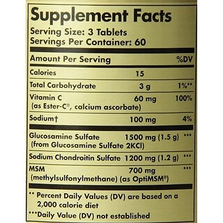 Solgar Extra Strength Glucosamine Chondroitin Msm With Ester-C Tablets 180
