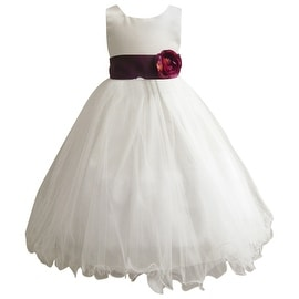 Wedding Easter Flower Girl Dress Wallao Ivory Rattail Satin Tulle (Baby - 14) Plum