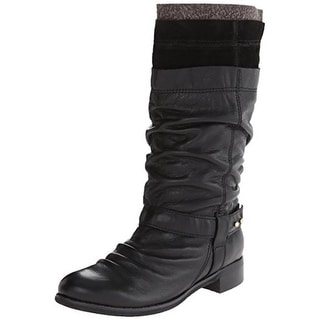 All Black Womens Layered Boot 2 Mid-Calf Boots Leather Slouchy