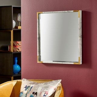 Shavonne White Marble with Stainless Steel Corner Square Wall Mirror by iNSPIRE Q Bold