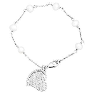 Potato Freshwater Pearl & Natural White Topaz Heart Bracelet in Sterling Silver