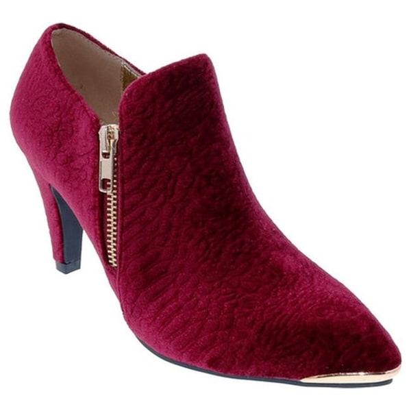 0cf405f6c245 Shop Bellini Women s Grace Bootie Wine Embossed Velvet - On Sale ...