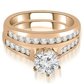 1.41 cttw. 14K Rose Gold Channel Set Round Cut Diamond Bridal Set