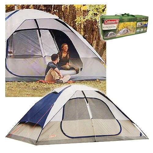 Coleman 2000006233 Glacier Creek 14' x 10' 8 Person 2 Room Camping Tent - Blue