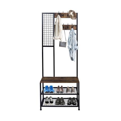 3 in 1 Industrial Coat Rack, Hall Tree Entryway Shoe Bench, Storage Shelf Organizer