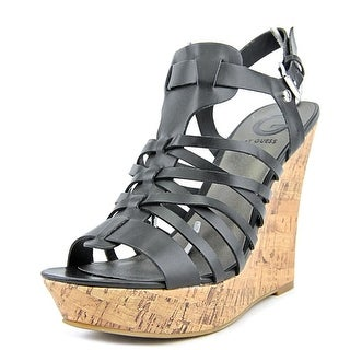 G By Guess Dede Open Toe Leather Wedge Heel