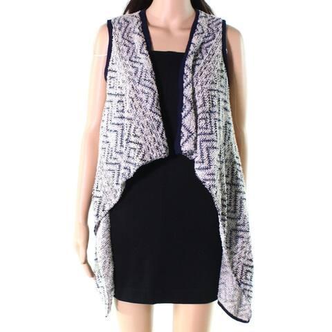 Absolutely Womens Sweater Blue Small S Draped Flyaway Geometric Vest