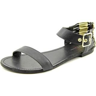 Famous Name Brand Amber Women  Open Toe Synthetic Black Gladiator Sandal