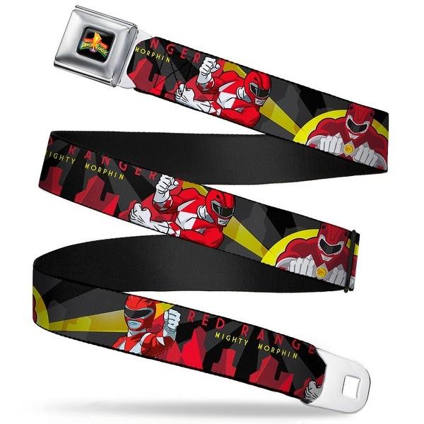 Power Rangers Logo Full Color Red Ranger Action Poses Skyline Rays Black Seatbelt Belt