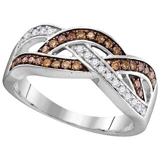 10kt White Gold Womens Round Cognac-brown Colored Diamond Crossover Band Fashion Ring 1/3 Cttw - Brown