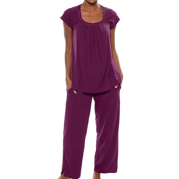 2a5d1ef3d04f Shop Texeresilk Deep Purple Womens Size Large L Pajama Sets Sleepwear - On  Sale - Free Shipping On Orders Over  45 - Overstock - 27006173
