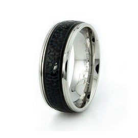 Stainless Steel Men's Ring w/ Black Enamel Inlay