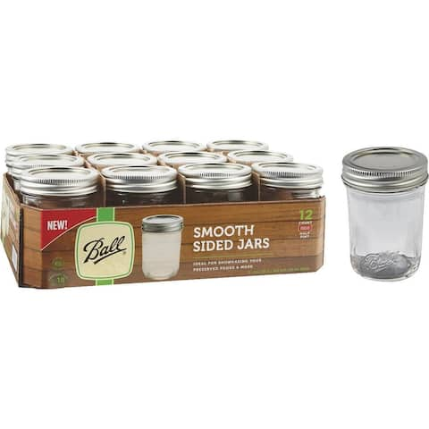 Ball 1440060801 Smooth-Sided Regular Mouth Mason Jars, 1/2 Pt, 12-Pack