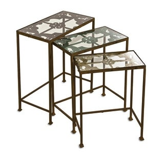 Set of 3 Decorative Antique Finished Floral Patterned Nesting Tables