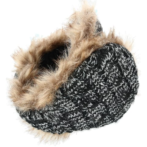 180s Women's Cable Knit Ear Warmers with Fur - one size