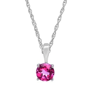 """5/8 ct Natural Rose Mystic Topaz Pendant in 10K White Gold, 16"""" - Pink"""