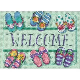 """Welcome Mat Mini Counted Cross Stitch Kit-7""""X5"""" 14 Count"""