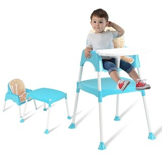 Costway 3 in 1 Baby High Chair Convertible Table Seat Booster Toddler Feeding Highchair - Blue
