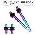Aqua & Purple Titanium IP 316L Steel Plug & Taper with O-Ring Set Value Pack - Thumbnail 0