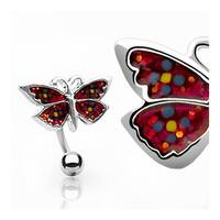 "Hinge Action Top Down Navel Belly Button Ring with Banana and Red Butterfly - 14GA 3/8"" Long"