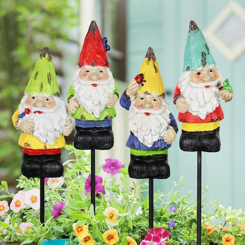 Exhart Colorful Mini Garden Gnome Pot Stake Set of Four, 2 by 9 Inches
