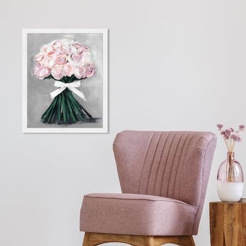 Oliver Gal 'Loveliest Bouquet Soft Grey' Floral and Botanical Wall Art Framed Print Florals - Pink, Green
