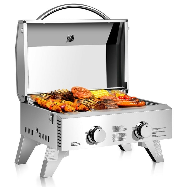 Gymax 2 Burner Portable BBQ Table Top Propane Gas Grill Stainless