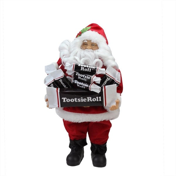 """12"""" Santa Claus with Arms Full of Tootsie Rolls Christmas Tabletop Decoration - RED"""