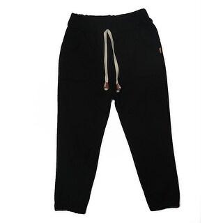 TG2601 Unisex Children's Cotton Trousers Linen Pants Spring Autumn Trousers Warm and Soft Black